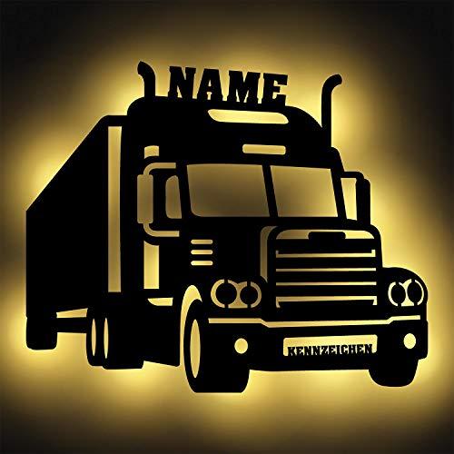 LKW Fahrer Trucker Männer Geschenke Led Schild Deko Wand-Lampe Zubehör Namensschild Gadget I Batteriebetrieb mit Kennzeichen und Namen