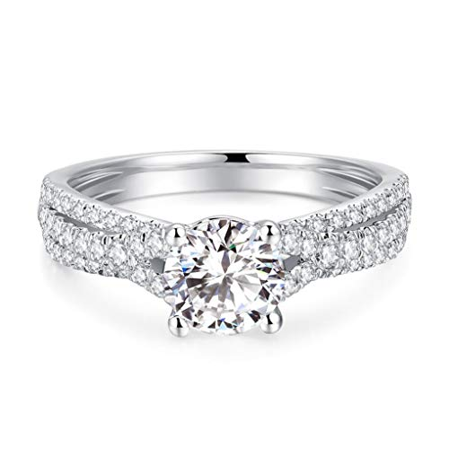 Petite Twist 2ct Round Brilliant Cut Simulated Diamond Cubic Zirconia CZ Engagement Rings Rhodium Plated Sterling Silver Rings|Ideal Cut, D-E Color, FL Clarity
