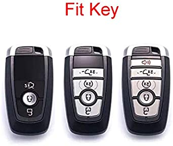 Black Carbon Fiber Texture TM 3 4 5 Buttons TPU Smart keyless Remote Key Fob case Cover for 2017 2018 2019 2020 Ford Mustang Explorer Edge Fusion Mondeo F150 F250 F350 F450 F550 Royalfox