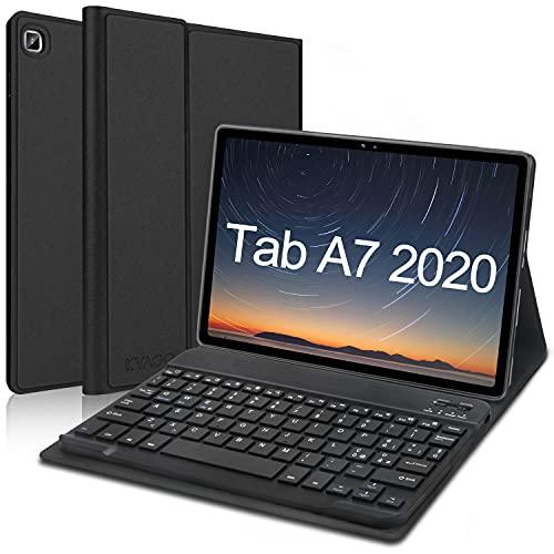 KVAGO Tastiera Italiana per Samsung Galaxy Tab A7 10.4 2020[SM- T500/ T505/ T507], Custodia Ultra Sottile con Tastiera Bluetooth Wireless, Magnetica Cover Sleep/Wake Automatica, Nero