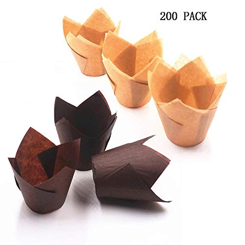 Tulip Cupcake Liner 200 Pieces Paper Tulip Baking Cups, Eco Friendly, Disposable, Non-Stick,Cupcake Wrappers for Home, Weddings, Birthdays, Baby Showers, Party, All Festivals(Brown, Natural Color)