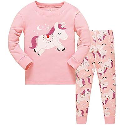 Tkiames - Pijama para niña de jirafa (2 piezas, ajustado, corte estrecho, 100% algodón, tallas de 1 a 10 años) Unicorn 6-7 Años