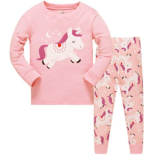 Tkiames - Pijama para niña de jirafa (2 piezas, ajustado,