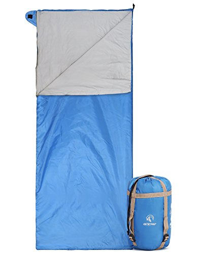 REDCAMP Ultra Lightweight Sleeping Bag for Backpacking, Comfort for Adults Warm Weather, with Compression Sack Blue (75'x 32.5')