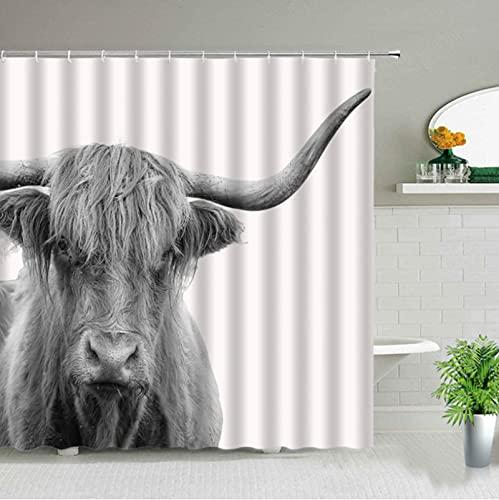 LEIhhdy 150 * 180 cm 3D impresión Tela Impermeable Vida Silvestre Animal baño Cortina bañera Arte decoración Highland Vaca Tema Cortinas de Ducha