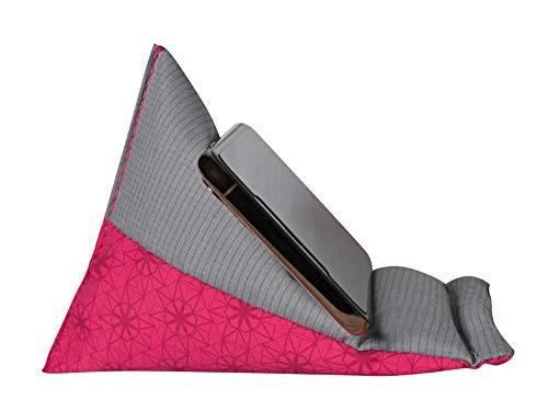 GAX Jango Beans Bag Mobiele Houder - Zacht Kussen Tablet Desktop Stand | Verstelbare Hoek | Compatibel met verschillende iPad Mini en andere SmartPhones, Roze/Grijs