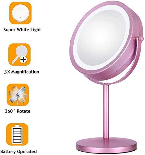 Peut être Maquillage miroir illuminé Grossissement double face Miroir de maquillage rotatif 7,8 pouces 3X Grossissement double face miroir de maquillage avec la lumière LED à piles avec bouton On/Of