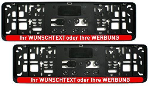 Satz (2 Stück) Kennzeichenhalter - KURZ 46 cm - ROT (Leiste) - MIT INDIVIDUELLEM WUNSCHTEXT - PREMIUMQUALITÄT - personalisiert 460 mm