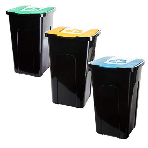 Mülleimer Abfalleimer, 3x50 Liter, für Bio-/Plastik- und Glas Recycling, aus recyclebarem Kunststoff, je 56 x 36 x 36cm, Made in EU