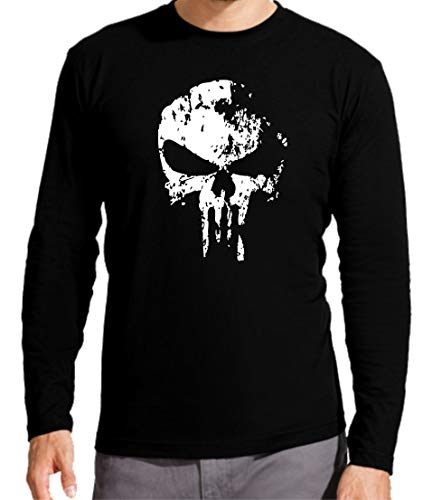 Camiseta Manga Larga de Hombre Punisher Castigador Comic 006 XL