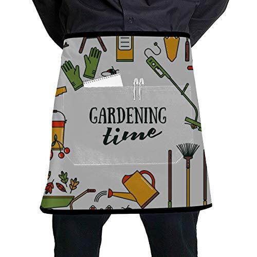 WYYWCY Professionelle Kellnerin Schürze Schöne Gartengeräte Bunte Kellnerin Schürze mit großer Tasche Unisex für die Küche Handwerk Grill Zeichnung
