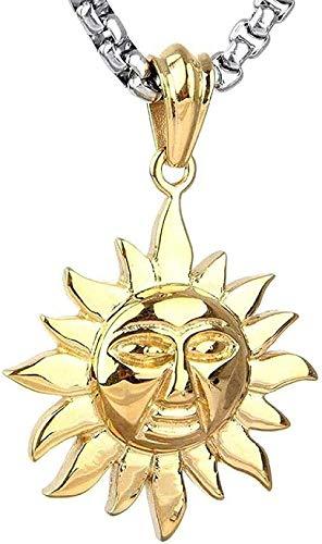 Collar Collar con colgante de acero de titanio Collar con colgante de acero inoxidable Accesorios para hombres Dibujos animados retro Collar con colgante de sol de acero de titanio Oro-Oro Regalo Chic