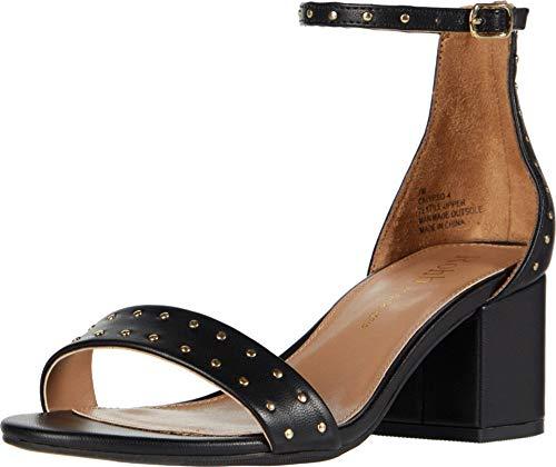 Rohb by Joyce Azria Calypso sandália de salto médio e salto baixo com tira no tornozelo, 01 - Black With Studs, 6