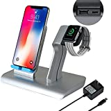 Co-Goldguard Phone Wireless Charger Stand 2 in 1 Charging Dock Fit for Watch Series 1 2 3 Compatible with iPhone X XS MAX XR 8 Plus Silver Blue