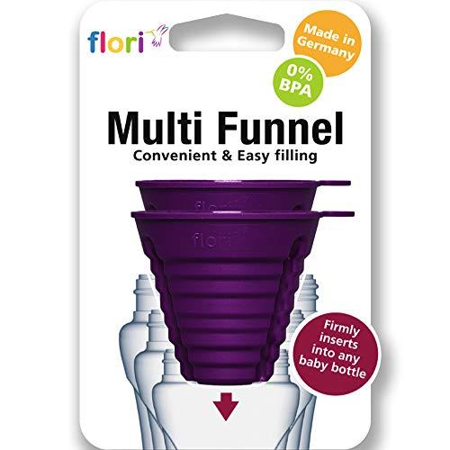 Flori Baby Multi Trichter für präzises Befüllen von alle Babyflaschen ohne sie festzuhalten, steckfest für 7 verschiedene Durchmesser, 100% Made in Germany, BPA frei, 2er Set, violett