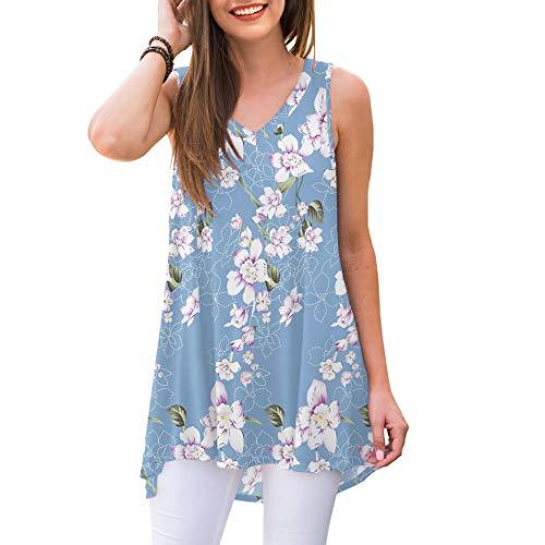 AWULIFFAN Women's Summer Sleeveless V-Neck T-Shirt Short Sleeve Sleepwear Tunic Tops Blouse Shirts (Flower Light Blue,Large)