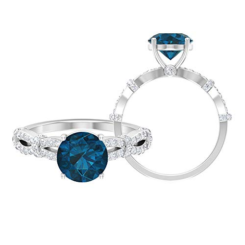 Anillo de compromiso de topacio azul Londres, piedras preciosas redondas de 2,61 quilates, anillo de solitario de diamante HI-SI de 8 mm, anillo de espiral de oro, 10K Oro blanco, Size:EU 51