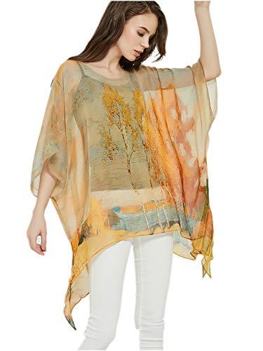 prettystern Damen Seiden-Tunika Chiffon Poncho Sommer Bluse Strandkleid Überwurf - One Size Goldener Herbst