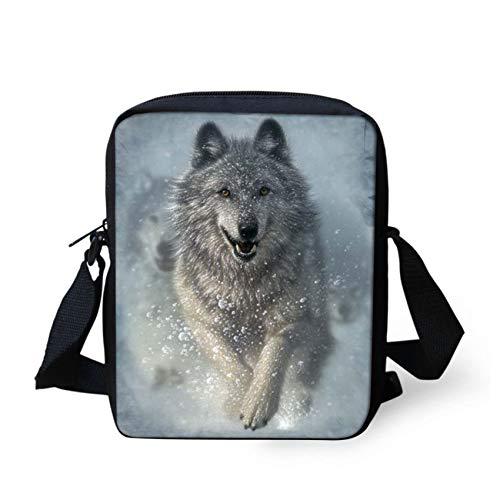 HUGS IDEA Kleine Umhängetasche mit Tiergesicht, Schultertasche, coole Wolf (Weiß) - Y-W1699E