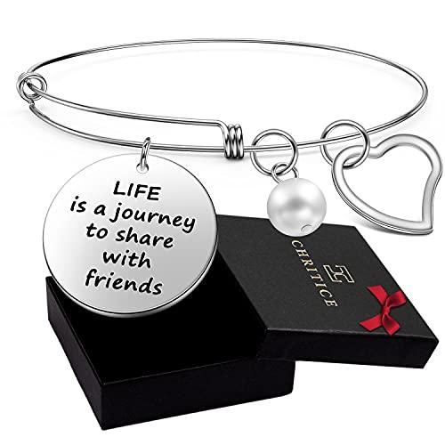 Chritice - Pulsera de la amistad, regalo ideal para mejores amigos y amistades. Pulsera con frase para niña, regalo ideal para cumpleaños Life is a journey to share with friends