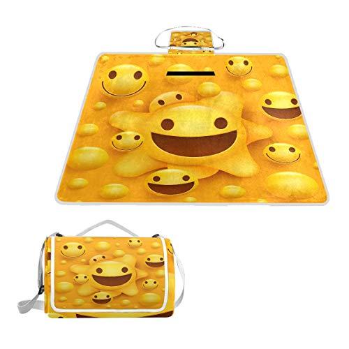 LZXO Jumbo-Picknickdecke, faltbar, lustige Emoticons, gepunktet, groß, 145 x 150 cm, wasserdicht, handliche Matte, Tragetasche, kompakte Outdoor-Matte mit Griff für Outdoor-Reisen, Camping, Wandern.