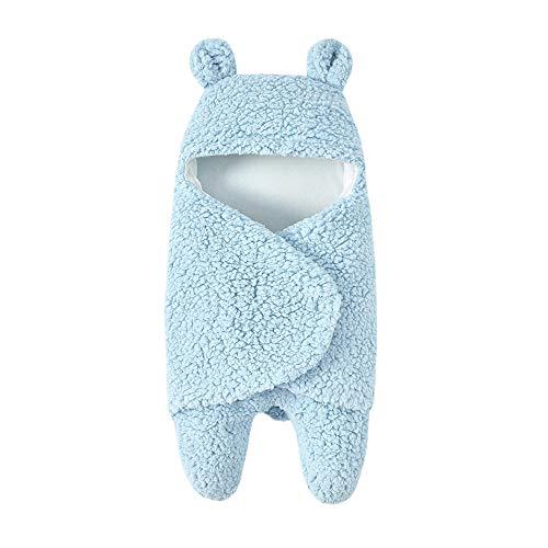 YWLINK Manta ReciéN Nacida Suave Felpa Caricatura Lana Artificial Abrazo Saco De Dormir Lindo Cobija Ropa De Bebe Regalo De Bebé ReciéN Nacido 0-12 Meses(Azul,0-12 Meses)