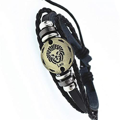DSNSNSSL 12 sterrenbeeld Zodiac Teken Zwart Gevlochten Lederen Armband Kanker Leo Maagd Weegschaal Geweven Bronzen Bedel Sieraden Punk Mannen Armband