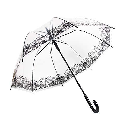 Lancoon Paraguas transparente grande para novia o esposa con forma de cúpula C