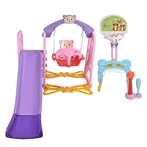 Ausla Tobogán para niños de 59,1 pulgadas, 68,9 x 75,6 x 46,5 pulgadas, tobogán 5 en 1, para interior y exterior, juguete para guardería (rosa)