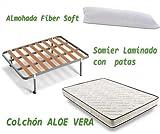 HOGAR 24 Colchón Visco-Aloe + Somier Basic + Almohada De Fibra, 80x180 cm