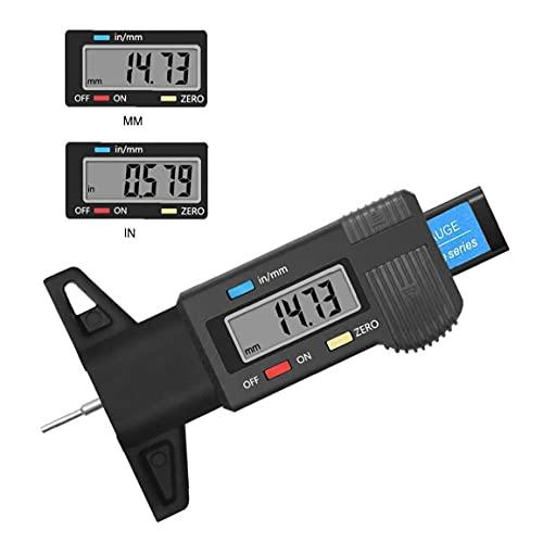 Screst Digital Neumático Pisada Profundidad Calibrador 0-25.4mm Calibrador Grosores Medidores De Llantas Medición De Profundidad Negro