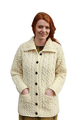 Aran wollen molens dames lange dikke wol Aran gebreide vest trui met kraag en zakken