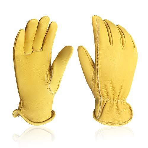 Intra-FIT Water-Resistant Cowhide Leather Driver Gloves Garden Gloves, Perfect for Truck Driving Warehouse General Work