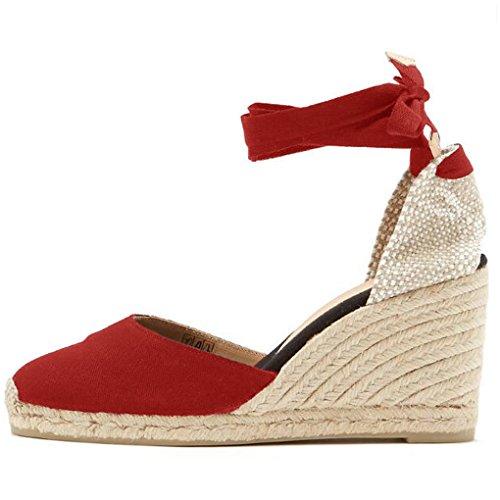 Minetom Sandali Donna Moda Espadrillas con Cinturino Casual Zeppa Piattaforma Eleganti Estivi Sandals Romani Testa Tonda Dolce Rosso EU 37