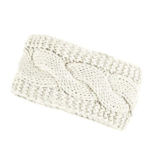 Neverless® warmes Damen Strick-Stirnband Fleece Futter Zopfmuster Ohrenschutz Haarband Knite Headband Creme
