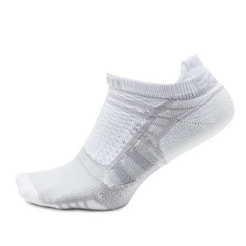 Thorlos Experia Unisex Prolite XPTU Running Ultra Thin No Show Tab Sock, White, Small