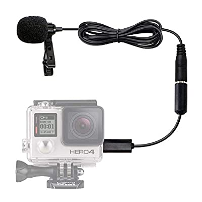 Movo GM100 Lavalier Lapel Clip-on Omnidirectional Condenser Microphone Compatible with GoPro HERO3, HERO3+ & HERO4 Black, White & Silver Editions