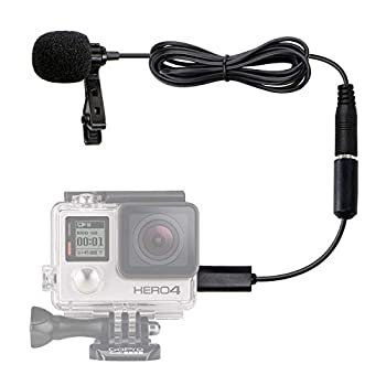 Movo GM100 Clip-on Lavalier Microphone for Compatible with GoPro HERO3 HERO3+ and HERO4 Black White and Silver Editions - Includes Mic Adapter for Go Pro