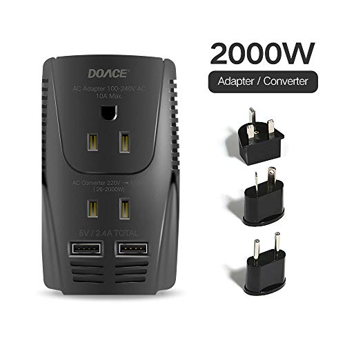 DOACE Universal Travel Adapter with 3 AC Outlets, 10A Worldwide All in One Lightweight Mini Size Traveler Adaptor Wall Charger US/UK/AU/EU Plug for Cell Phone, Laptop Over 190 Countries