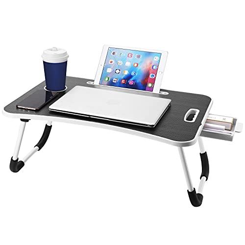 Escritorio de regazo, escritorio de cama para portátil, bandeja de cama para portátil, sofá y suelo, escritorio de regazo para portátil, mesa de cama para portátil, mesa baja para sentarse en el suelo, para comer, trabajar, escribir, jugar, dibujar (negro)
