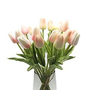 EasyLife Tulipán artificial de 12.6 », 20 piezas y 2 colores por juego, decoración para interiores, decoración de bodas…