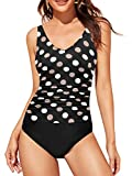 Upopby Women's One Piece Swimsuit Tummy Control Padded Athletic Training Swimwear V Neck Slimming Bathing Suit Plus Size White Polka Dot 12