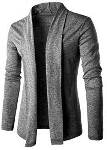 PAUSE Grey Solid Lapel Collar Slim Fit Full Sleeve Men