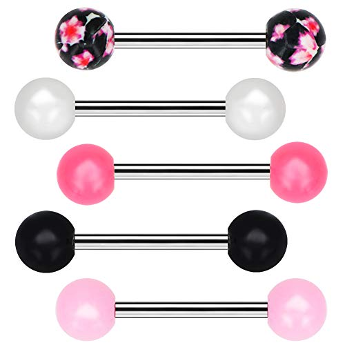 OUFER Tongue Barbells 5pcs Candy Color with Flower Pattern Tongue Barball Piercing Body Jewelry Tongue Rings
