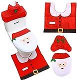 FANDE Asiento de Inodoro de Papá Noel, Cubierta de Inodoro de Navidad y Cubierta de Inodoro Cubierta de Cisterna Alfombra Cojín de Felpa,Set de Decoración de Baño de Navidad Santa Claus