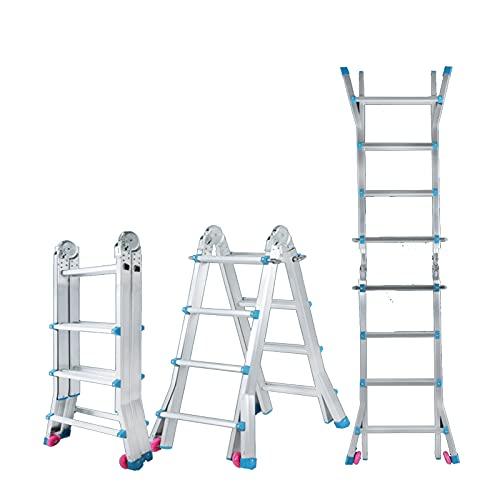 BFFGM PortáTil Antideslizantes Escalera Plegable con Ruedas MultifuncióN Escalera IngenieríA AleacióN de Aluminio Usado para Exterior AlmacéN Garaje