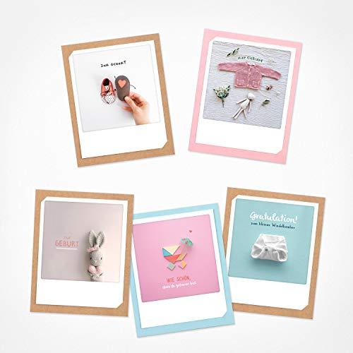 PICKMOTION Set mit 5 Foto-Gruß-Karten mit Umschlag Grüße & Wünsche, Premium Instagram-Zur Geburt und Taufe-Karten, handgemachte Klappkarten, lustige Sprüche & Motive, Tiere, Blumen, bunt, BKK-0133