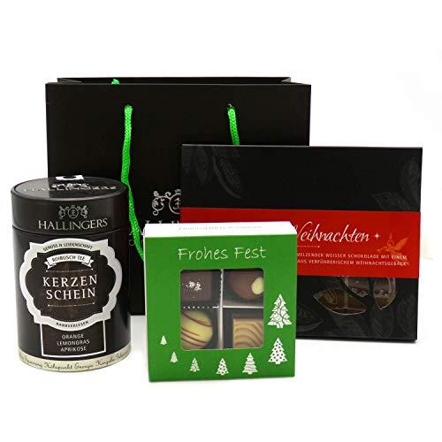 Hallingers Geschenk-Set mit Tee, Schokolade & Pralinen (250g) - Klein No. 01 (Genusstasche) - zu Weihnachten