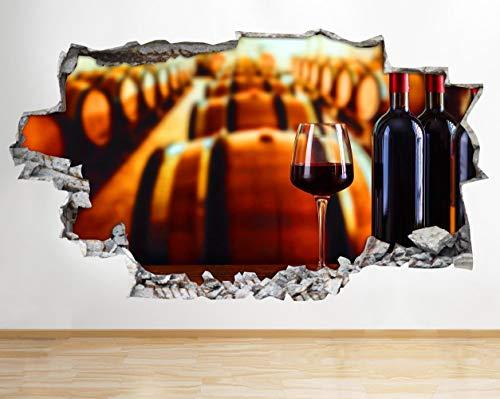 BB469 Wandaufkleber, Motiv: Weinglas, Weinflasche, zerbrochene Flasche, 3D-Wandaufkleber, Vinyl