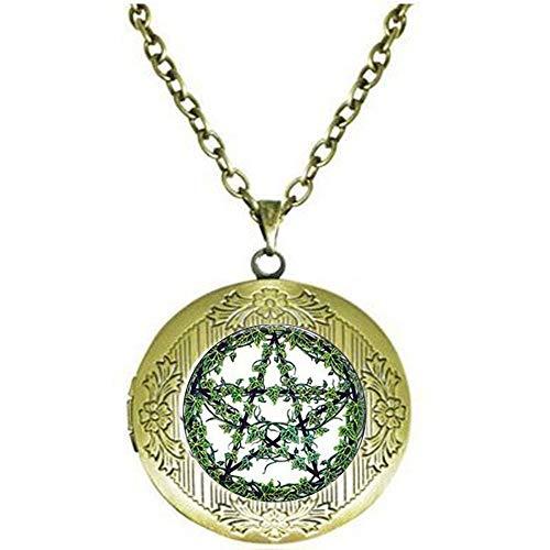 bab Collar de pentagrama de ratán verde con colgante de árbol de estrella de Wiccan con colgante oculto, colgante de cita de la Biblia, collar con medallón religioso